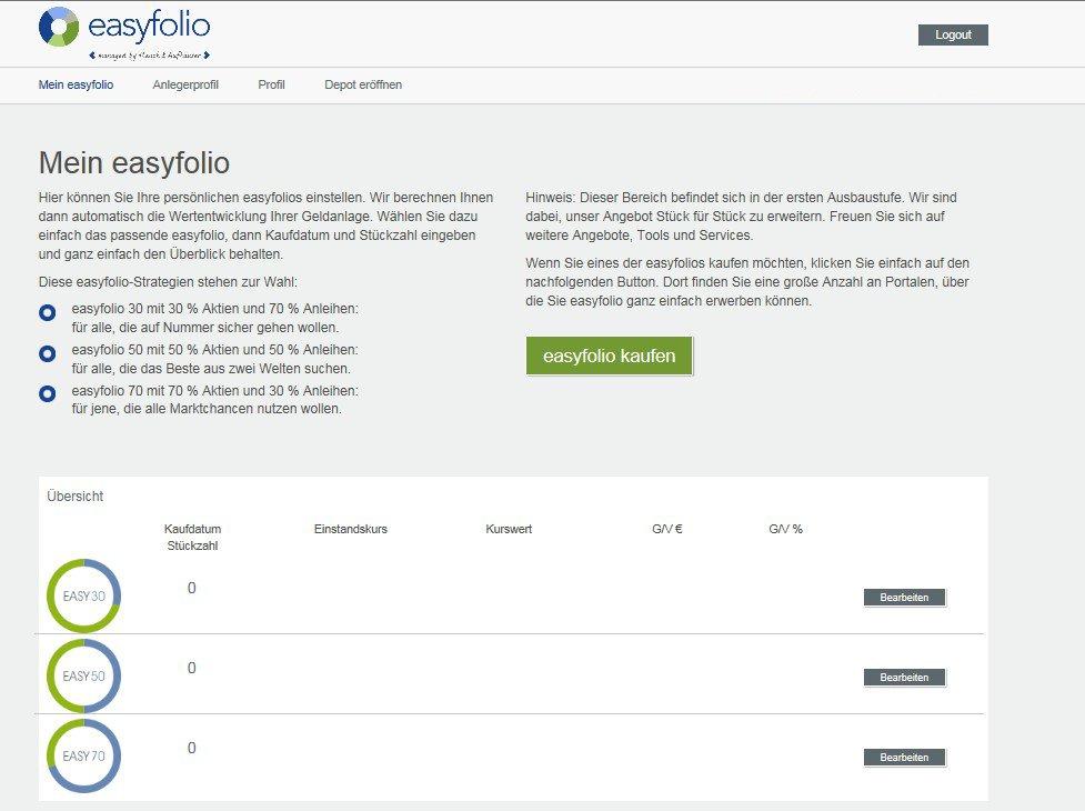 easyfolio Dashboard