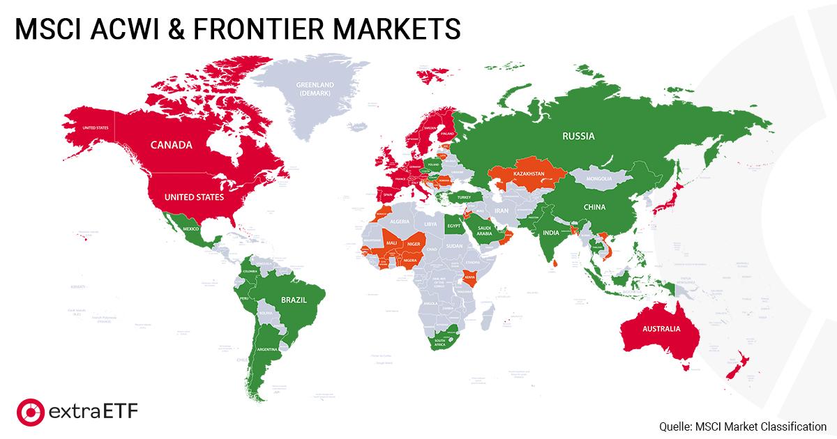 Welt-ETF: Länderallokation MSCI ACWI & Frontier Markets