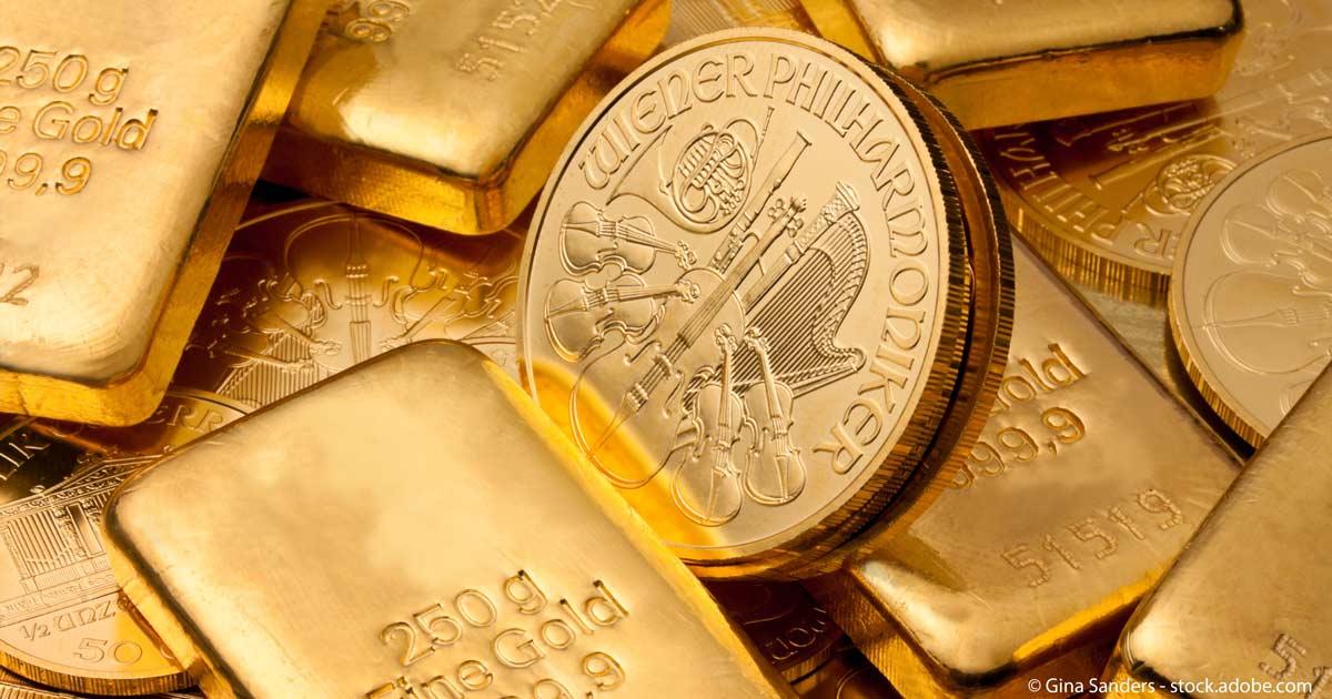 Goldmuenzen-Barren
