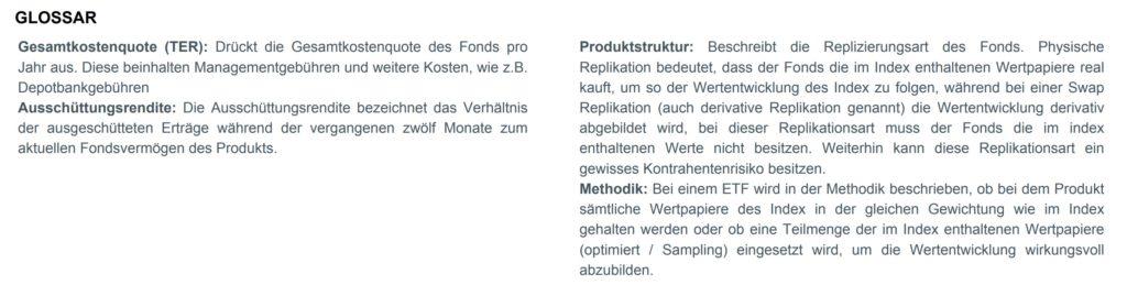 ETF-Factsheet verstehen Glossar.