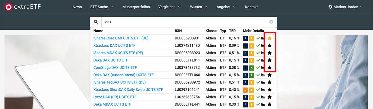 ETF-Schnellsuche - Watchlist